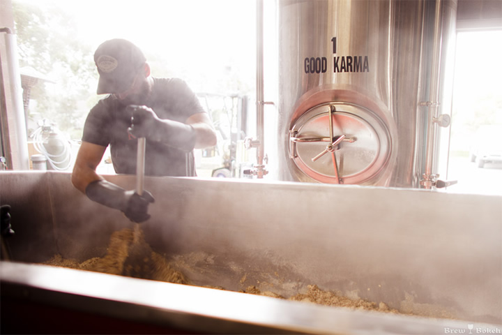 Mashing during the brewing process at Sante Adairius
